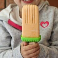 This Healthy Orange Creamsicle is a great summertime treat - Greek yogurt makes the creamsicle a fantastic snack! PS: Only three ingredients! Recipe on RachelCooks.com!