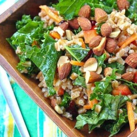 Kale Salad with Farro and Honey Dijon Dressing