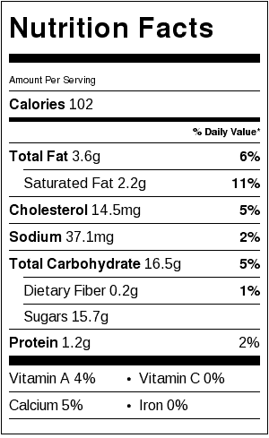 Rootbeer Float Popsicle - nutrition label