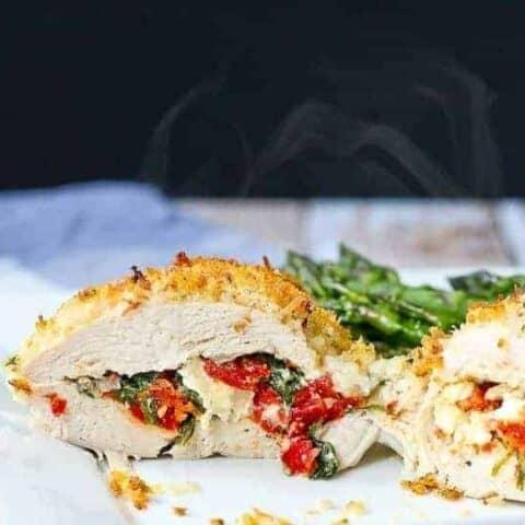 Sun-Dried Tomato, Kale and Feta Stuffed Chicken Breasts