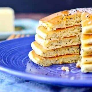 Lemon Poppy Seed Cottage Cheese Pancakes