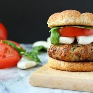 Mozzarella Stuffed Turkey Burger with Tomato and Basil