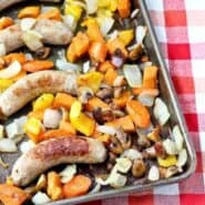 Roasted Turkey Italian Sausage with Vidalia Onions and Vegetables - this will become a go-to easy meal for you - it is for us! RachelCooks.com