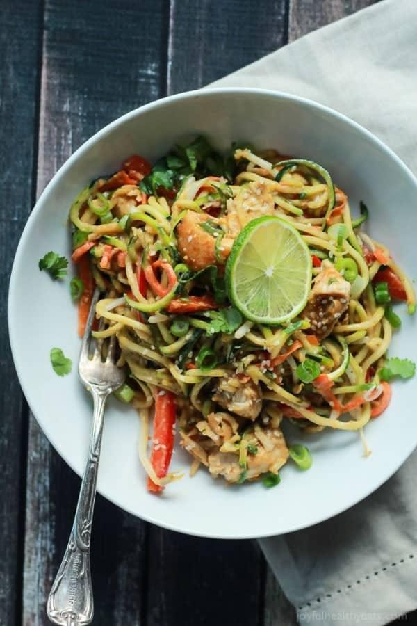 Thai Chicken Zucchini Noodles with Spicy Peanut Sauce-5