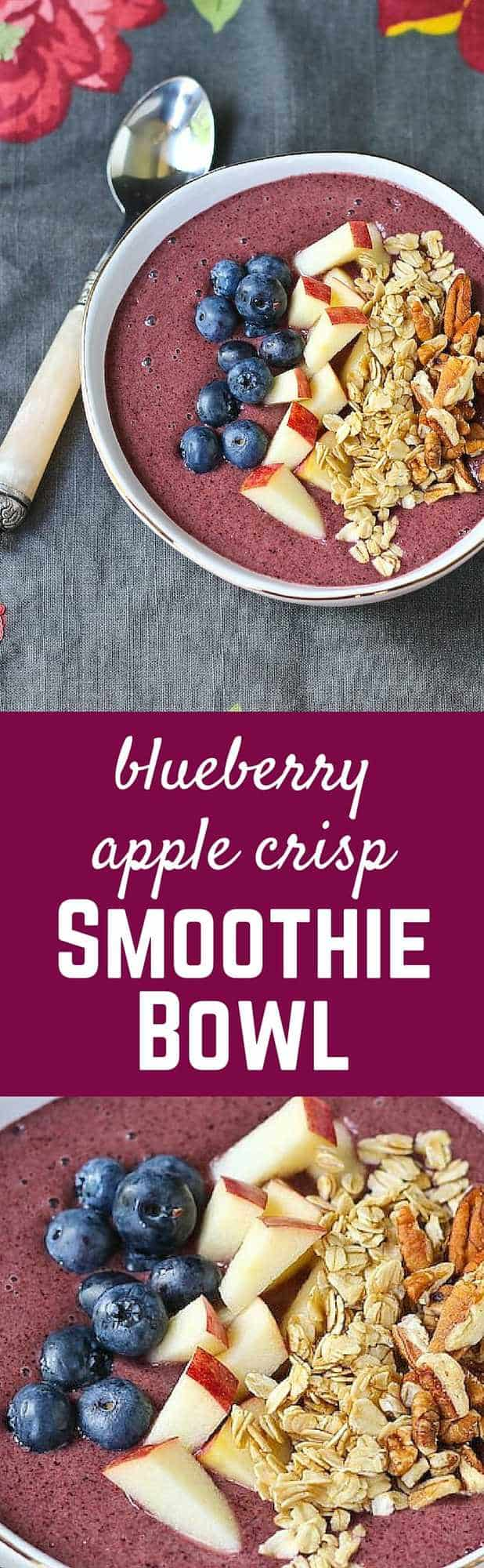 Blueberry Apple Crisp Smoothie Bowl - such a great way to start the day! Complete with hidden veggies! Get the easy recipe on RachelCooks.com!