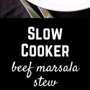 This slow cooker marsala beef stew will fill your houses with the smells of marsala - it's the perfect fall meal, ready and waiting for you! Get the easy recipe on RachelCooks.com!