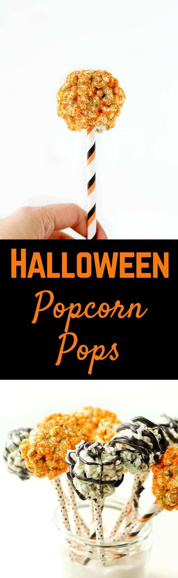 This Halloween popcorn pops recipe is perfect for Halloween parties and events, and easier to make than you'd think! Kids and adults will love eating their sweet, pumpkin-spiced popcorn off of a stick! Get the recipe on RachelCooks.com!