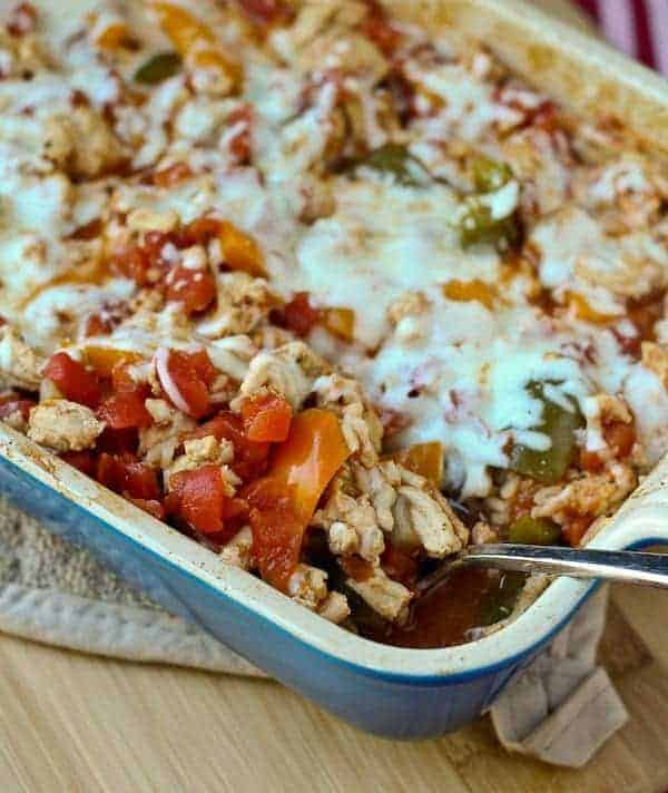 This Healthy Stuffed Pepper Casserole with Cheddar (and ground turkey) is a great go-to meal for nights when you don't really feel like cooking. It's easy to make, hearty, and tastes great! Get the easy recipe on RachelCooks.com!