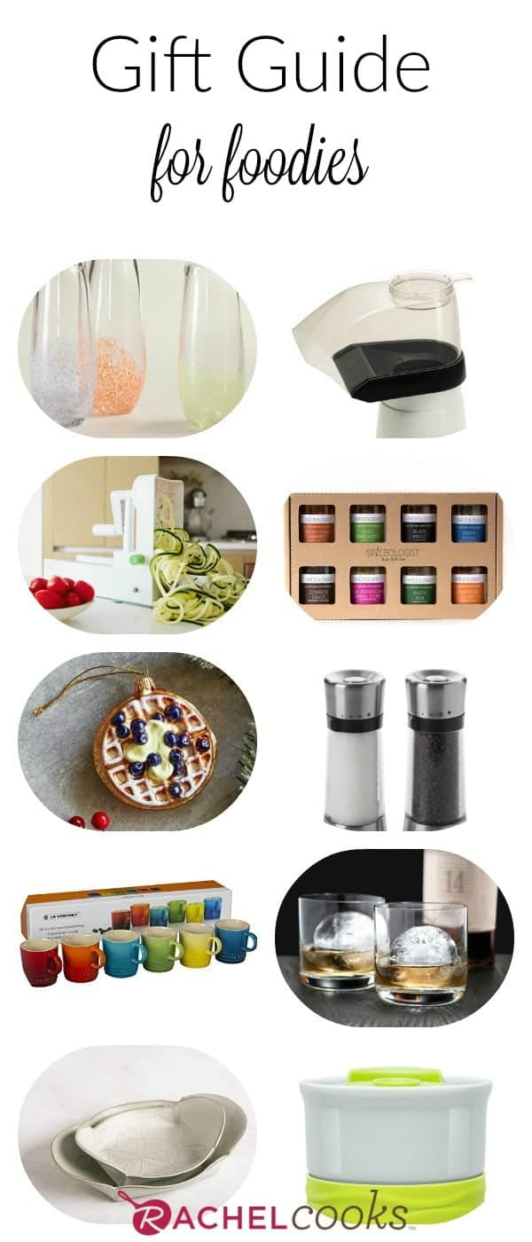 Figure out what to buy the food the food lover in your life with this great foodie gift guide. Number 5 is essential in every person's life. Get the list on RachelCooks.com!
