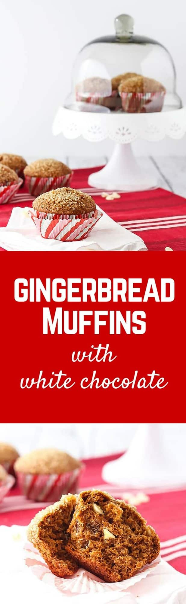 Gingerbread Muffins with White Chocolate Chips are perfect for Christmas morning or any other morning. The crunchy sugar topping makes them completely irresistible. Get the recipe on RachelCooks.com!