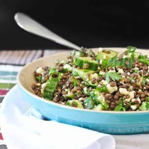 Lentil Salad Recipe with Feta, Lemon and Parsley