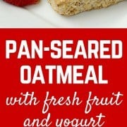 Take your oatmeal outside the bowl and try this unique pan-seared oatmeal with fresh fruit and yogurt. You'll love the crispy buttery crust on the outside. Get the great healthy breakfast recipe on RachelCooks.com