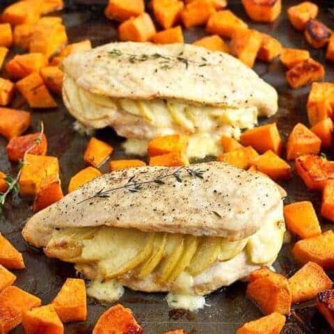 Apple Gouda Stuffed Chicken Breasts with Smoky Roasted Sweet Potatoes