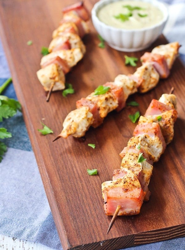 These easy chicken cordon bleu kabobs are a super fun take on the traditional combination of chicken with ham. The swiss cheese dipping sauce will keep you coming back for more. Get the recipe on RachelCooks.com!