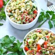 Healthy lunch alert! This tabbouleh salad recipe with freekeh and feta is a filling and satisfying lunch. Prepare to be obsessed with freekeh. Get the healthy recipe on RachelCooks.com!