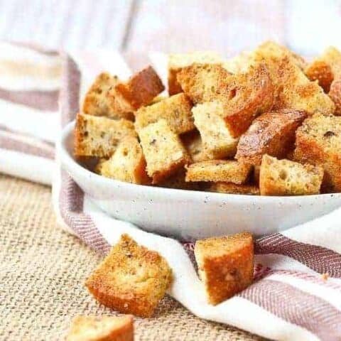 Four Ingredient Homemade Croutons - {baked & whole grain}