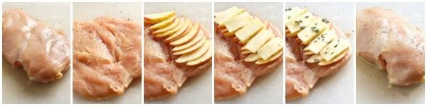 apple gouda chicken collage