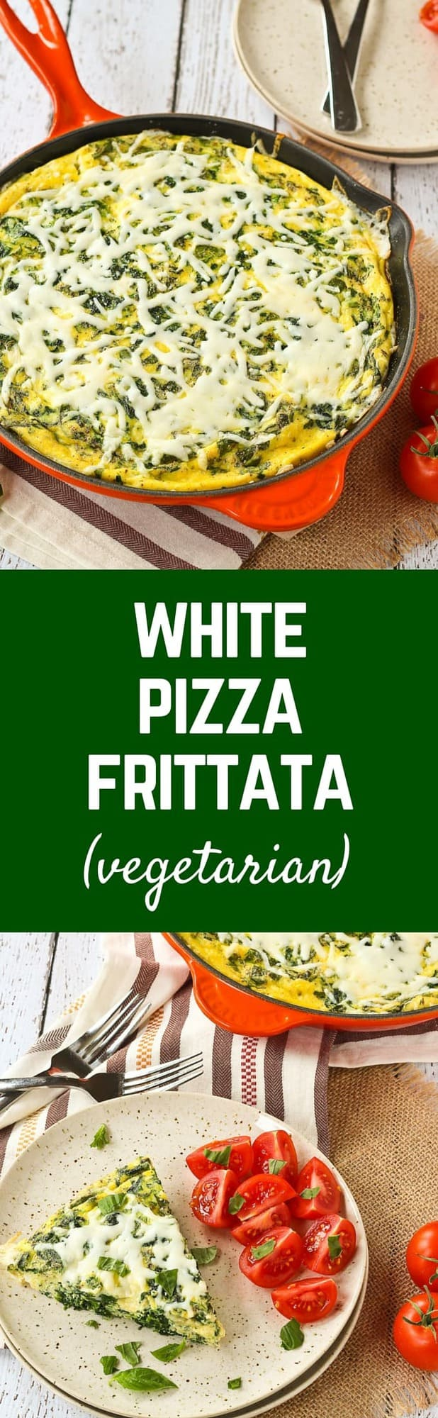 Pizza at brunch - what could be better? This white pizza frittata has all the flavors of pizza that you love in an irresistible and filling baked egg frittata. Brunch perfection! Get the recipe on RachelCooks.com!