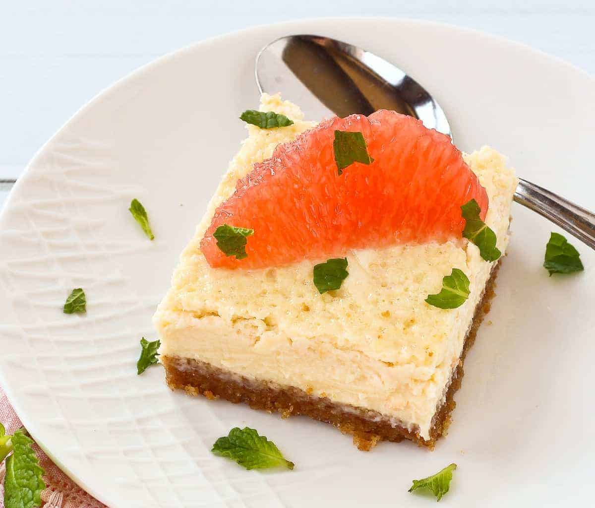 Easy Grapefruit Cheesecake Bars with Mint