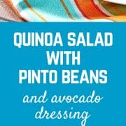 This quinoa salad with avocado dressing, pinto beans, red bell pepper, and more is a hearty and filling salad that stores great in the fridge - it's perfect for lunches! Get the healthy and easy recipe on RachelCooks.com!