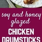 These soy and honey glazed chicken drumsticks are finger licking good -- the whole family will love these. My kids loved eating them with their hands! Get the easy recipe on RachelCooks.com!