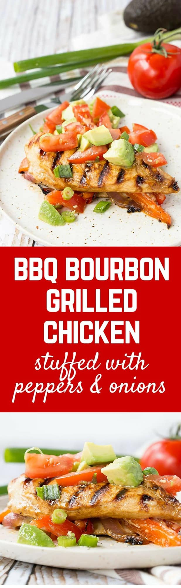 Summer at its best, this BBQ bourbon grilled chicken is marinated until flavorful and tender and then stuffed with peppers, onions and cheese. Get the easy summer recipe on RachelCooks.com!