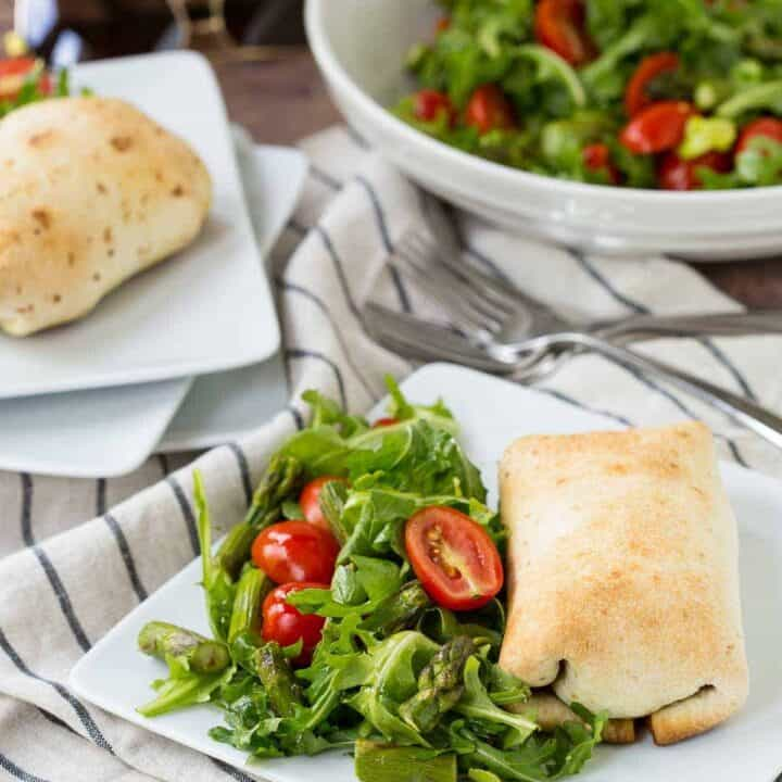 Baked Chimichanga Recipe with Chicken, Pesto, Havarti, and Caramelized Onion