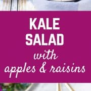 The perfect salad to keep in your fridge and grab at lunch time, this kale salad with apples and raisins is tangy, tart, sweet and full of flavorful nutrition. Get the recipe on RachelCooks.com!