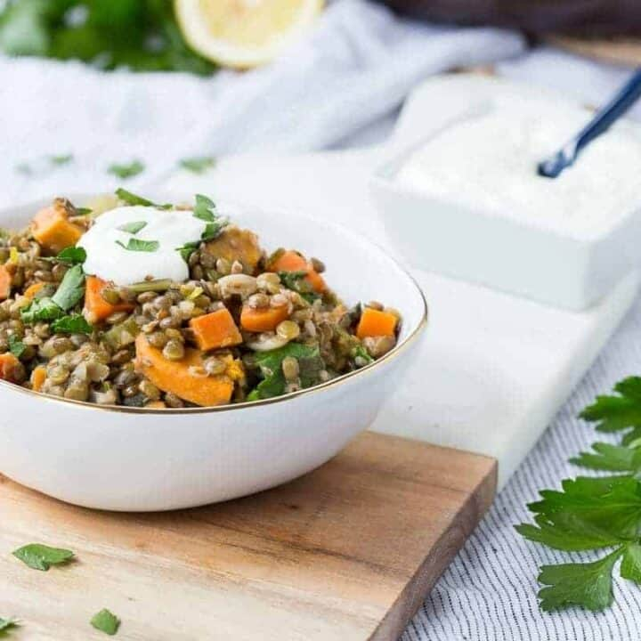 One Pot Green Lentils with Sweet Potatoes and Kale