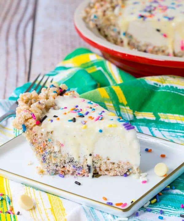 This whimsical ice cream pie recipe is perfect for any summer party - kids will love the sprinkles and adults will love the vanilla beans and white chocolate ganache. Get the recipe on RachelCooks.com!