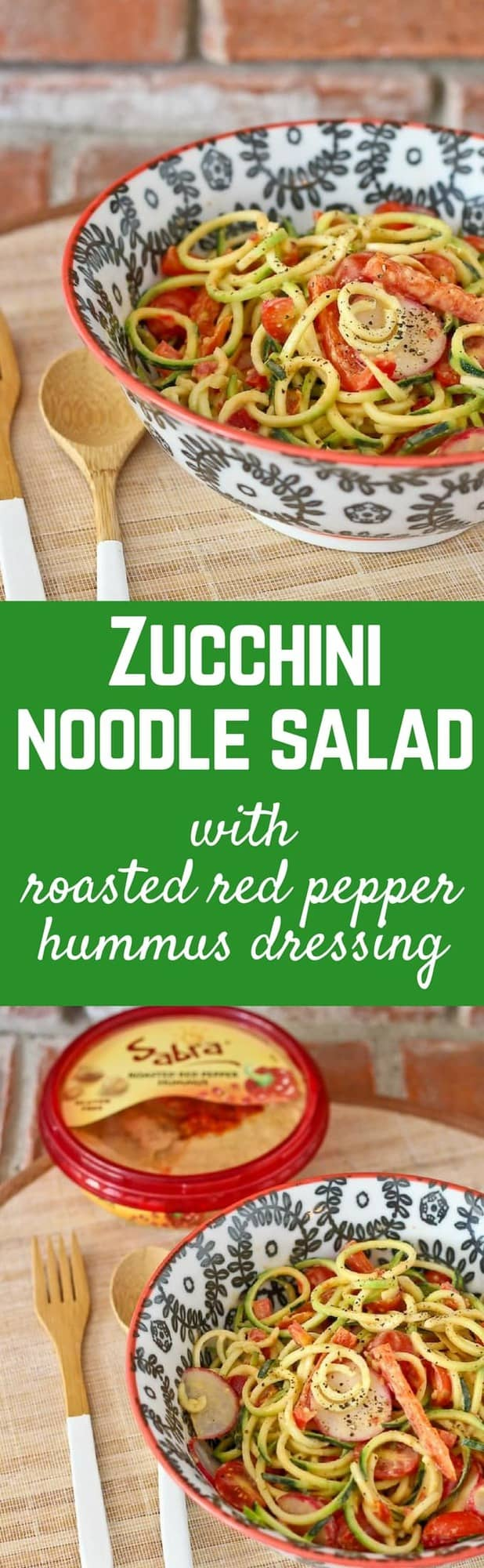Zucchini Noodle Salad with Roasted Red Pepper Hummus Dressing - get the easy salad recipe on RachelCooks.com!