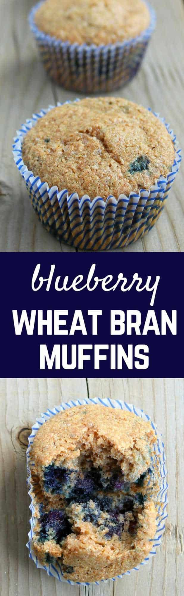 Blueberry wheat bran muffins are a healthy and quick breakfast. Hearty and filling, these will get your day off to a great start! Get the recipe on RachelCooks.com!