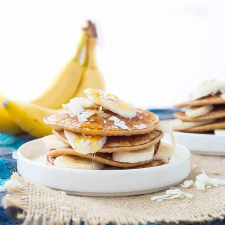 Banana Coconut Blender Pancakes