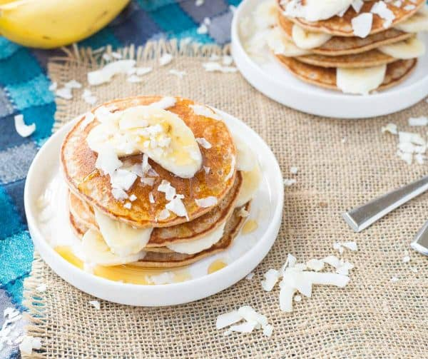 Pull our your blender and make these easy (AND HEALTHY!) banana coconut blender pancakes. They're a taste of the tropics! Get the easy breakfast recipe on RachelCooks.com!
