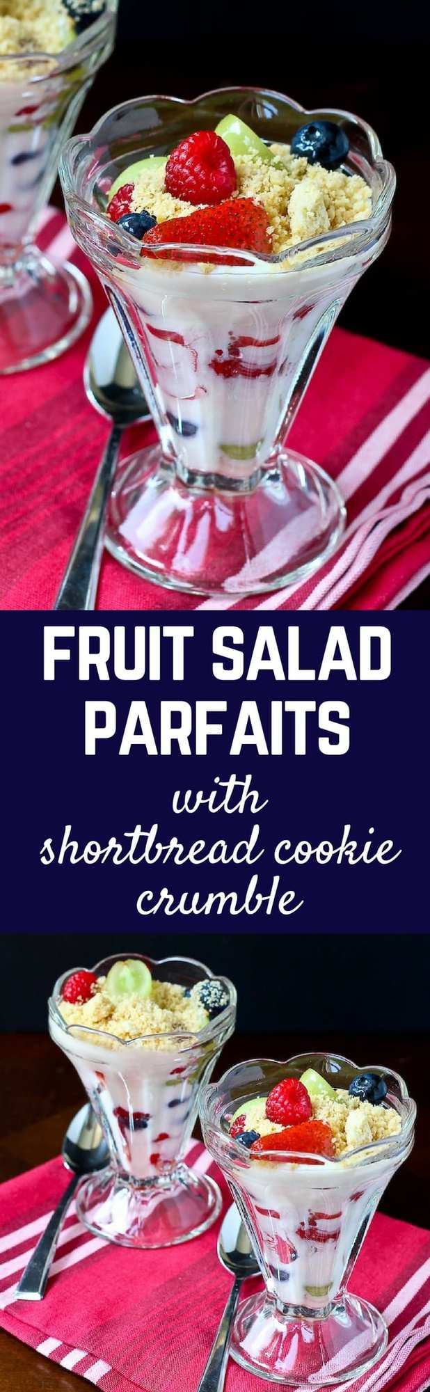 Fruit Salad Parfaits with a Sweet Shortbread Cookie Crumble - Perfect for breakfast or dessert! Great for leftover fruit salad too! Recipe on RachelCooks.com!