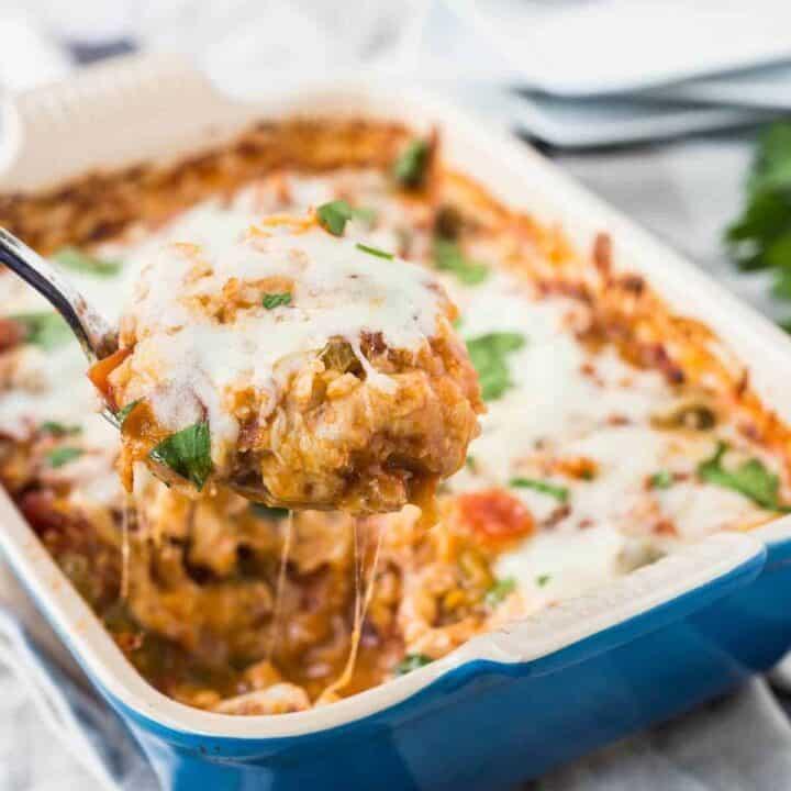 One Dish Italian Chicken and Rice Bake