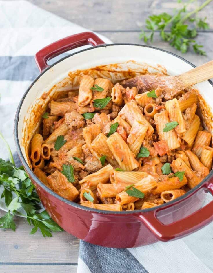 One Pan Rigatoni with Creamy Red Wine Tomato Sauce