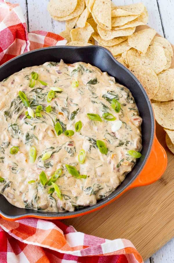 Surprise party guests or family members with this fun and festive take on spinach dip. This Mexican spinach dip will be a new favorite! Get the recipe on RachelCooks.com!