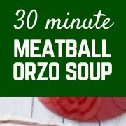 This quick, healthy, easy meatball soup with whole wheat and vegetables will warm you on the chilliest of days without leaving you with that heavy, over-full feeling. Get the 30 minute meal on RachelCooks.com!