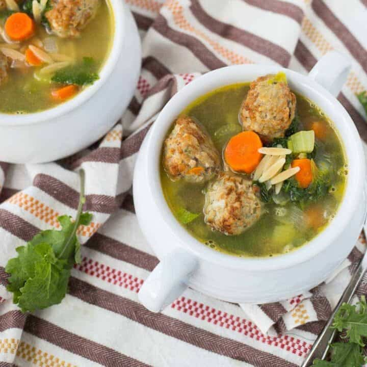 Easy Meatball Soup with Orzo (healthy!)