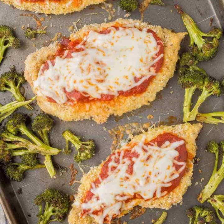Baked Chicken Parmesan and Broccoli (Sheet Pan Dinner)