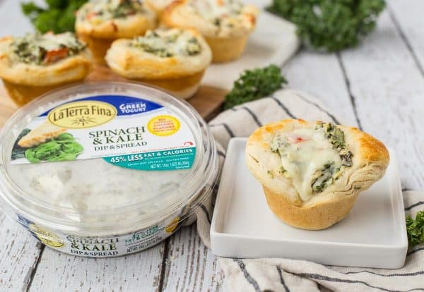 These kale and spinach dip bites are a twist on a bread bowl full of spinach dip, but these are easier to make and eat! Get the easy entertaining recipe on RachelCooks.com!