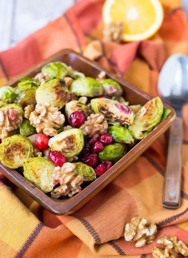 These Brussels Sprouts with Cranberries and Walnuts will be the perfect addition to your Thanksgiving or Christmas table. They are simple, festive, and delicious! Get the easy recipe on RachelCooks.com!