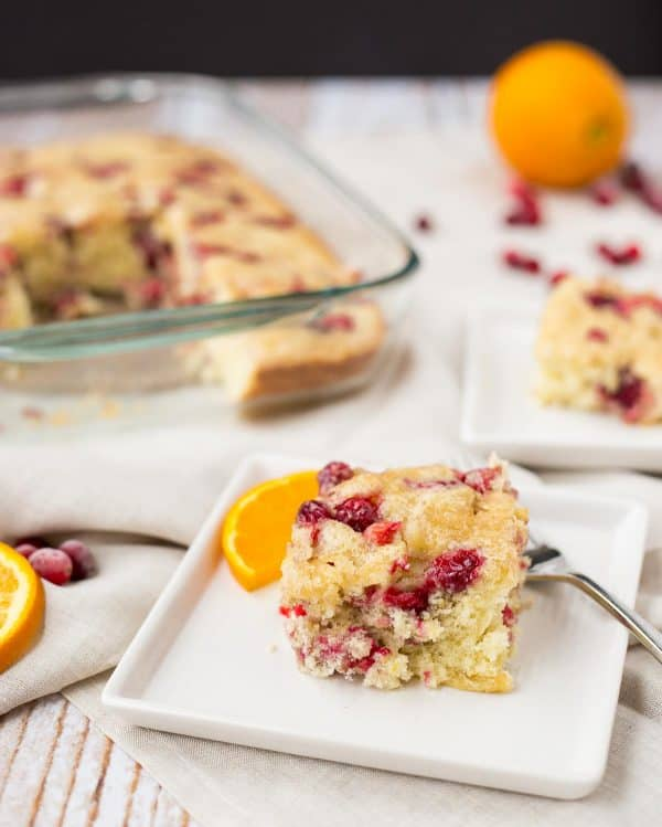 This cranberry coffee cake with orange and cardamom will fill your home with scents of the holidays. It's perfect for any day but I picture this making a Christmas brunch appearance. Get the recipe on RachelCooks.com!