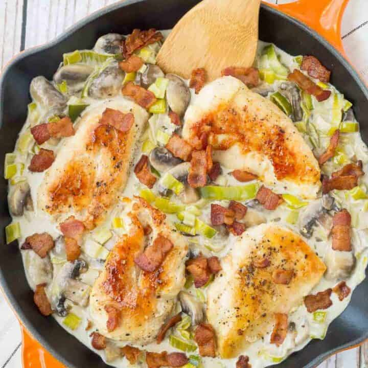 One Pan White Wine Chicken with Mushrooms, Bacon and Leeks