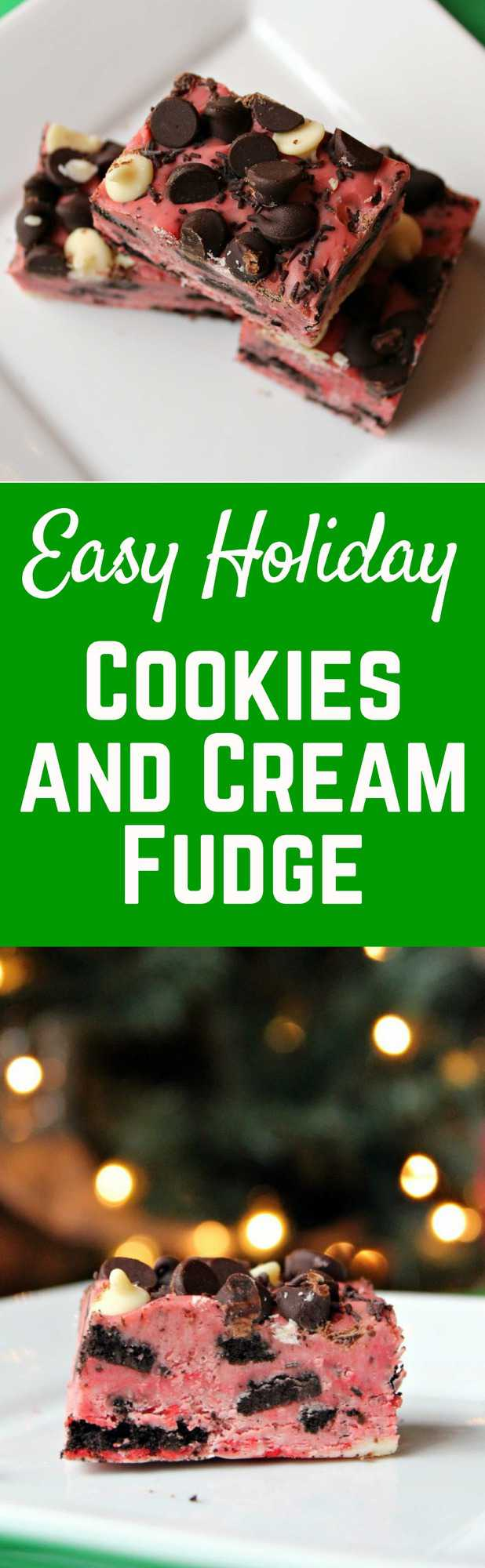 Searching for a last minute goodie for your cookie plate? This cookies and cream fudge is ridiculously easy and so very festive!