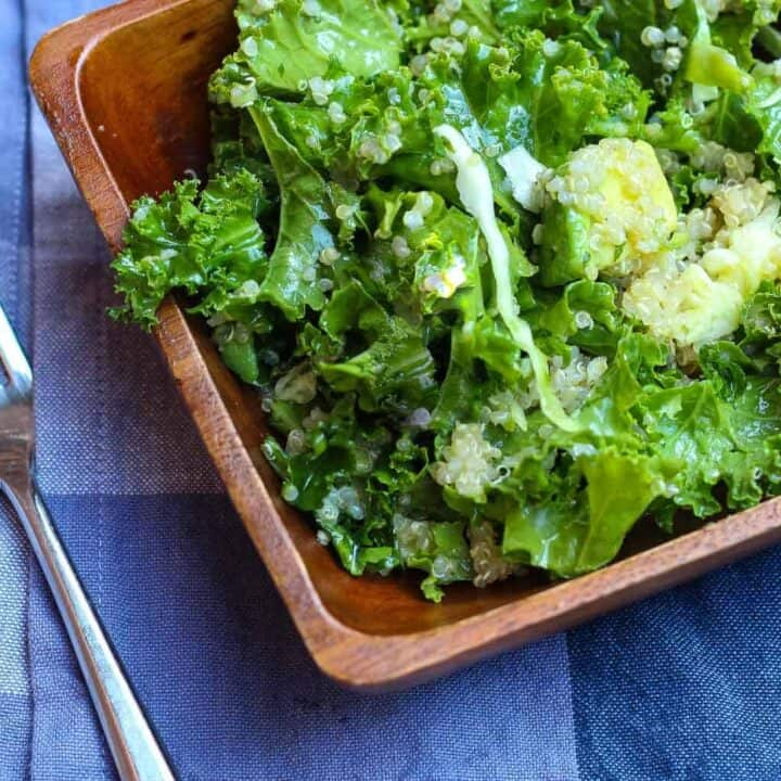 Kale Salad with Avocado and Cumin Lime Dressing