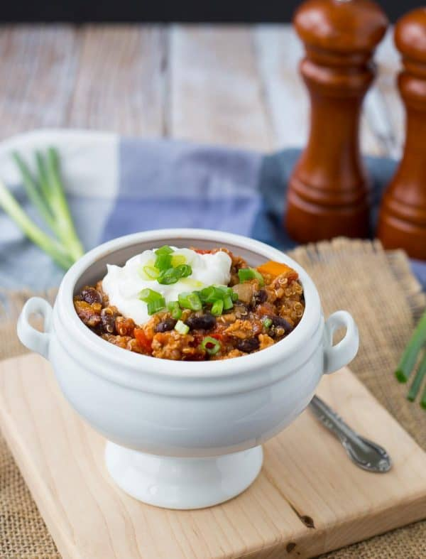 Extra filling and extra flavorful, this turkey quinoa chili is the perfect quick and easy weeknight meal -- and it freezes well! Get the healthy chili recipe on RachelCooks.com!