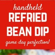 Ridiculously easy and perfect for game day, handheld refried bean dip is a hearty appetizer that everyone loves. Let your guests add their own toppings. Get the fun appetizer recipe on RachelCooks.com!