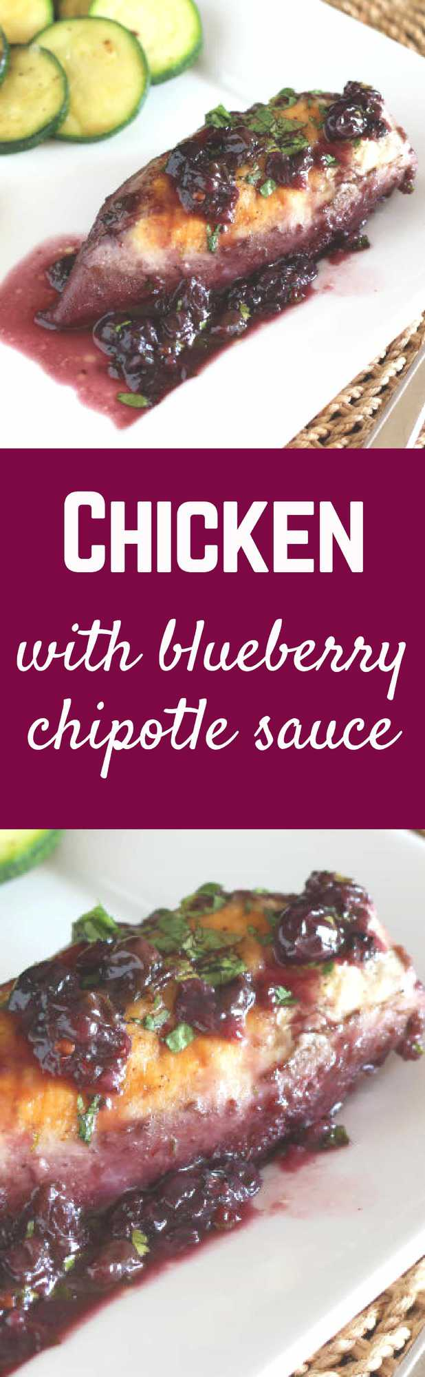This chicken has a unique blueberry chipotle sauce that is the perfect blend of spicy and sweet. Get the recipe on RachelCooks.com!
